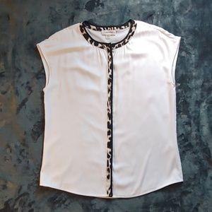 Calvin Klein White & Leopard Blouse